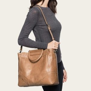 Frye Riviana Leather Tote in Beige